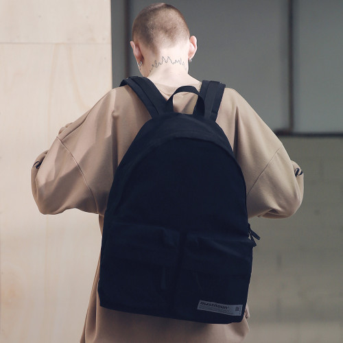 [[MASSNOUN]] SL LOGO TWO POCKET BACKPACK MSNAB001-BK