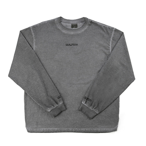 Washed Long Sleeve Crew-Neck Tee ( HAND MADE) - SILVER