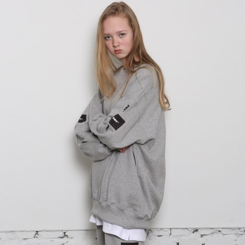 [ANOUTFIT] UNISEX PWC TAP SWEAT SHIRTS GREY
