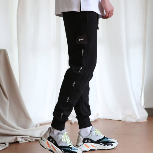 [ANOUTFIT] UNISEX PWC TAP JOGGER TRACK PANTS BLACK