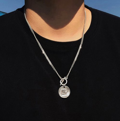 [RUSHOFF] Faded Skull Pandant Necklace - Basic Chain ver. / 페이디드 스컬 펜던트 베이직 체인목걸이 (은도금)