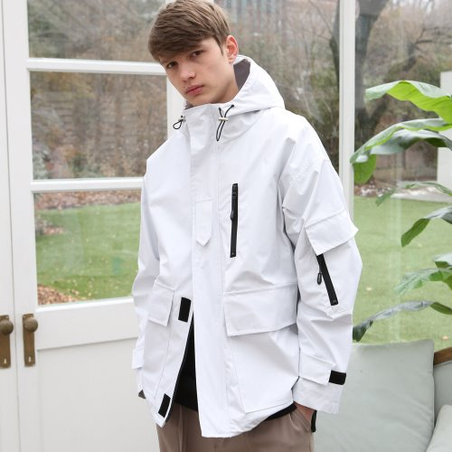 [ANOUTFIT] UNISEX TECH WINDBREAKER WHITE