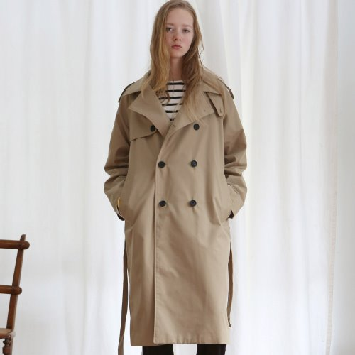 [ANOUTFIT] UNISEX TRENCH DOUBLE COAT BEIGE