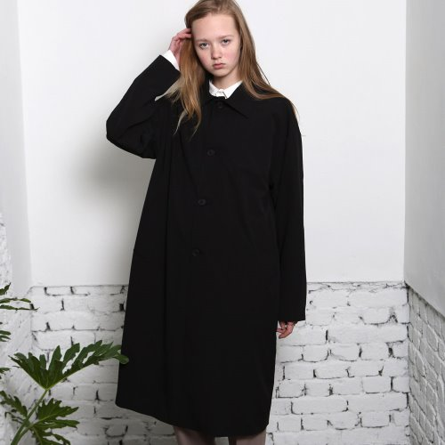 [ANOUTFIT] UNISEX SINGLE TRENCH COAT BLACK