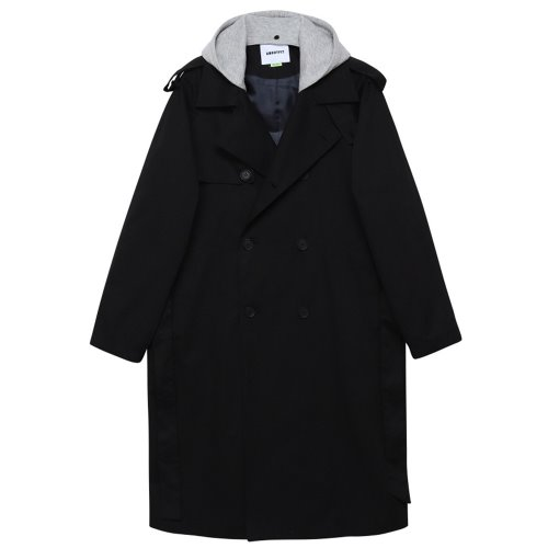 [ANOUTFIT] UNISEX TRENCH DOUBLE COAT BLACK