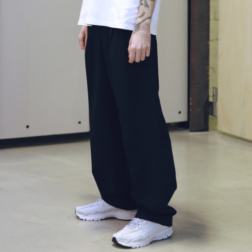 [MASSNOUN] TURN-UP HIGHWAIST WIDE SLACKS MSNTT001-BK
