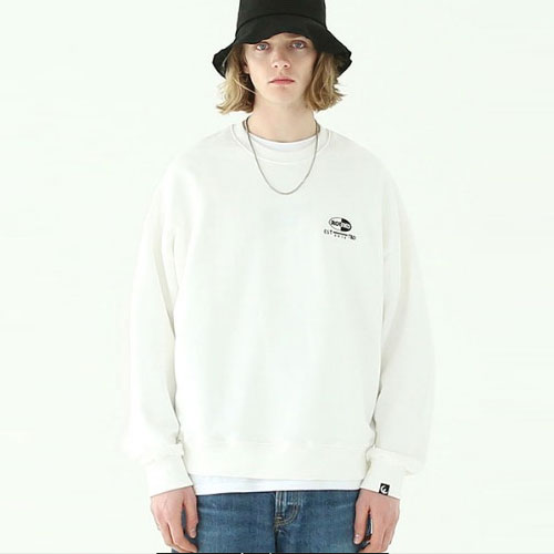 [TENBLADE] Over fit capsule round logo sweat shirt_tai236mm_white