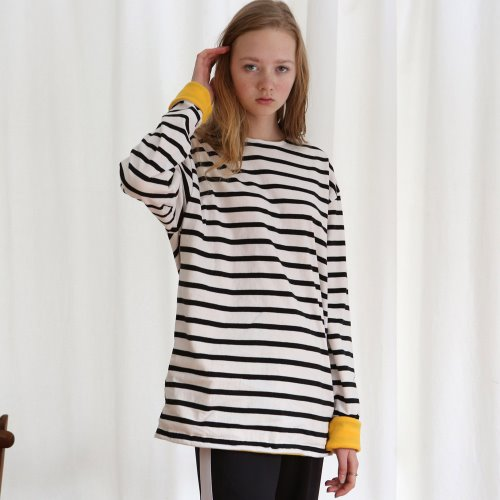 [ANOUTFIT] UNISEX FLEECE STRIPE T-SHIRTS BLACK