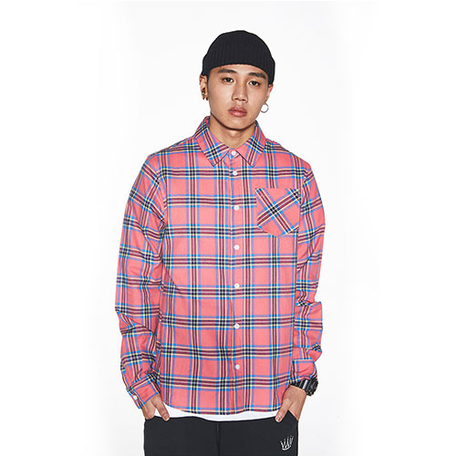 [Feel Enuff] FLANNEL CHECK SHIRTS  - PINK