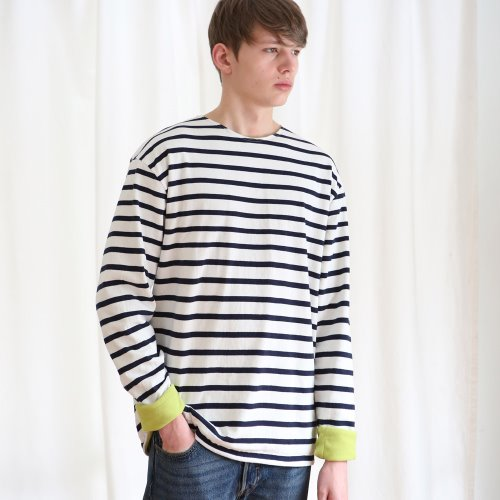 [ANOUTFIT] UNISEX FLEECE STRIPE T-SHIRTS NAVY