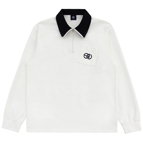 [NOWAVE] ZIPPER POLO SHIRT - White
