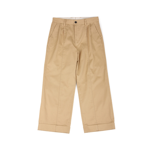 [YESEYESEE] Two Tuck Wide Pants Beige
