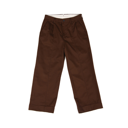 [YESEYESEE] Two Tuck Wide Pants Brown
