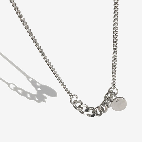 [RUSHOFF] Surgical Steel  Two Flow Chain Necklace - Circle Pendant / 투플로우 체인 목걸이 - 써클펜던트