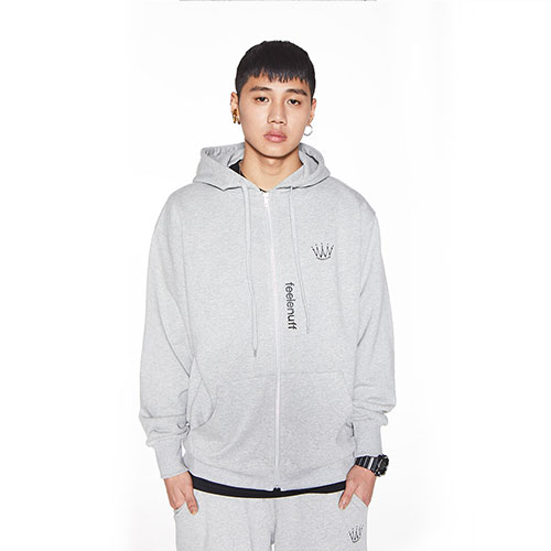 [Feel Enuff] CROWN FULL-ZIP HOODIE - GRAY