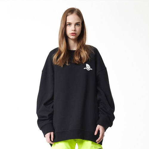 [DUCK DIVE] SURFBOARD_CREWNECK_BLACK