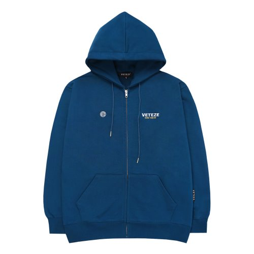 [VETEZE] Circle Logo Hood Zipup (deep blue)