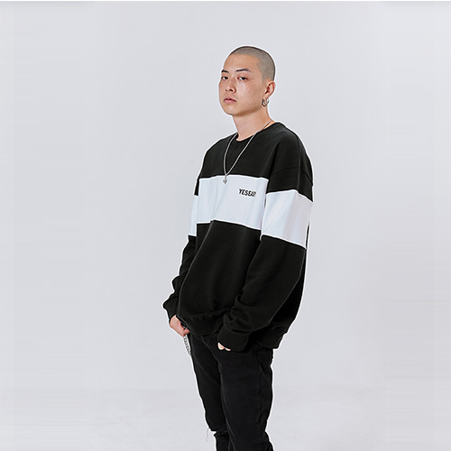 [YESEASY]BLOCK SWEATSHIRT - BLACK