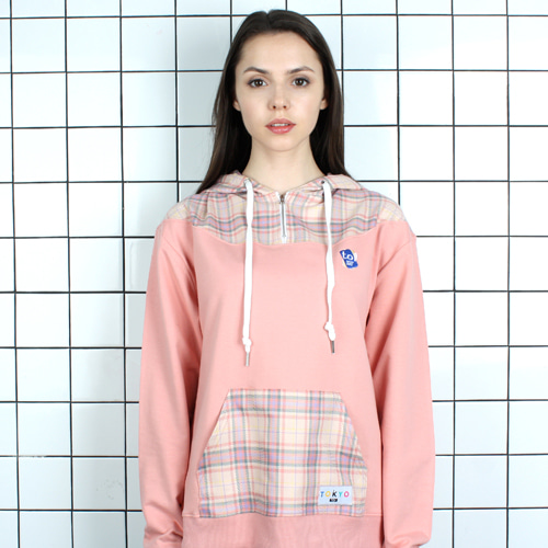 [TOi] TOKYO CHECK POINT HOODIE PINK