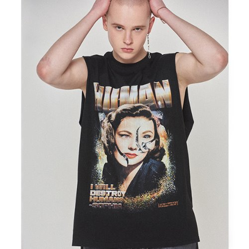 Human Android Sleeveless Tee - BLACK