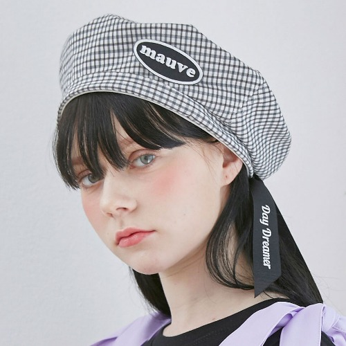 [MAUVE] CHECK RIBBON BERET (black)