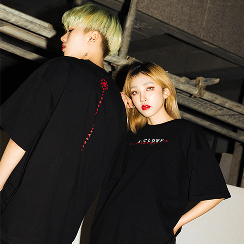 [A.Clown]Wave Lettering Half-Tee BLACK