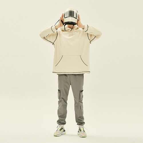 [DEADEND] COVERSTITCH HOODIE -CREAM