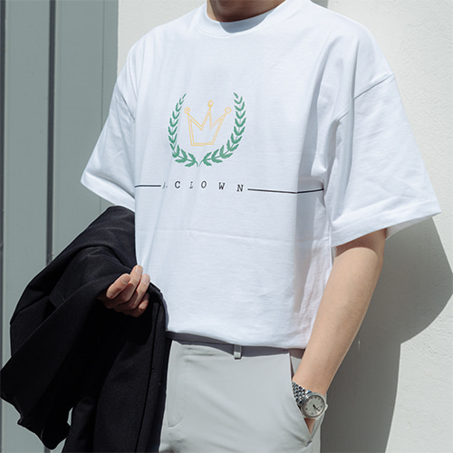 [A.Clown]ACL Crown Logo Half-Tee WHITE