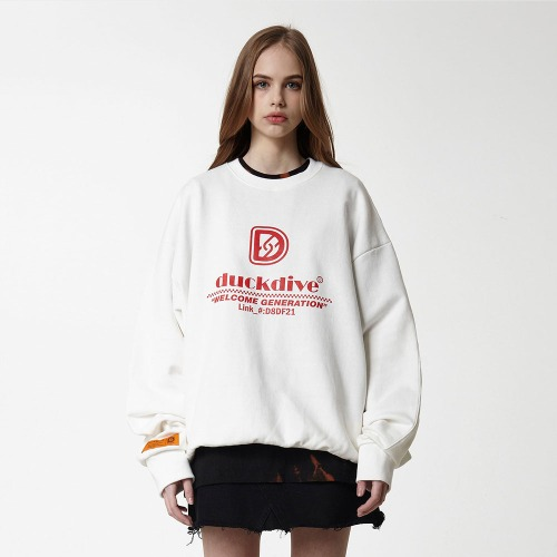 [DUCK DIVE] HYPERLIKE_CREWNECK_OFF WHITE