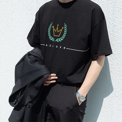 [A.Clown] ACL Crown Logo Half-Tee BLACK