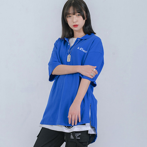 [A.Clown]Shirts-fit Side-Zipper PK Half-Tee BLUE