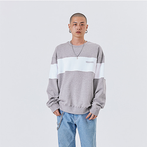 [YESEASY]BLOCK SWEATSHIRT - GRAY