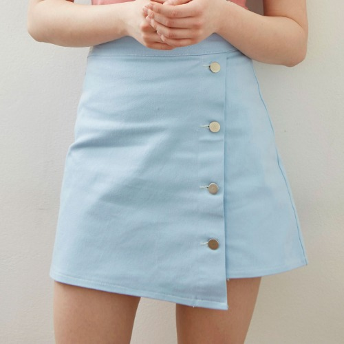 [MAUVE] UNBALANCE DENIM SKIRT (sky blue) [4/15 예약배송]