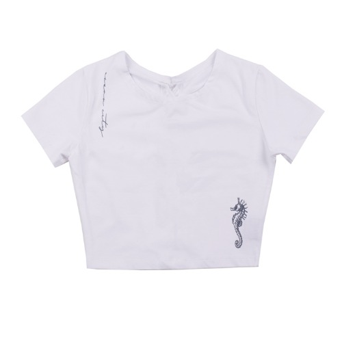 [UGLYSHADOW]  SEA HORSE LACE HALF TOP(WHITE)