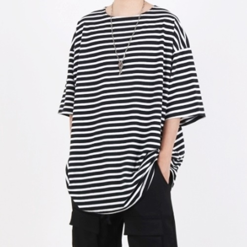 [Nar_Yoke] Super Overfit Boat-Neck T-Shirt - Black Stripe