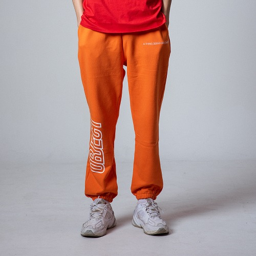 [OBJECT] OBJECT LOGO SWEATPANTS - ORANGE