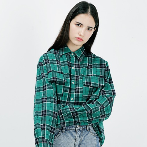 [ARDOROBE] DOUBLE POCKET OVERFIT CHECK SHIRT AST183002-GN