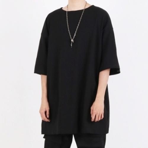 [Nar_Yoke] Super Overfit Boat-Neck T-Shirt - Black