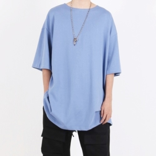 [Nar_Yoke] Super Overfit Boat-Neck T-Shirt - Sky Blue