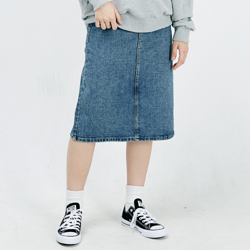[ARDOROBE] DENIM LONG SKIRT ASK183001-BL