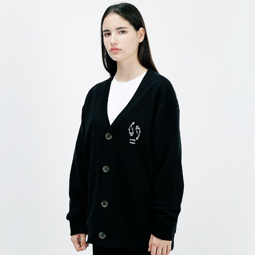 [ARDOROBE] PISCES OVERFIT COTTON CARDIGAN ACD183001-BK