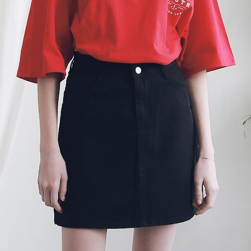 [ARDOROBE] BASIC TWILL COTTON SKIRT ASK191001-BK