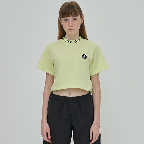 [OY] LOGO CREW NECK CROP T - LIME