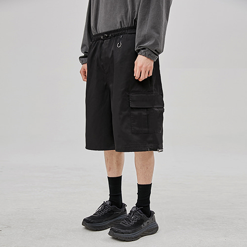 [FLARE UP] wide cargo half pants (FU-214_C_BK)