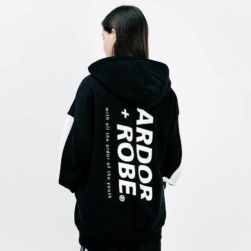 [ARDOROBE] SIGNATURE OVERFIT HOOD ZIP-UP AZP183001-BK