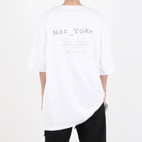 [Nar_Yoke] Signature Super Overfit Boat-Neck T-Shirt - White