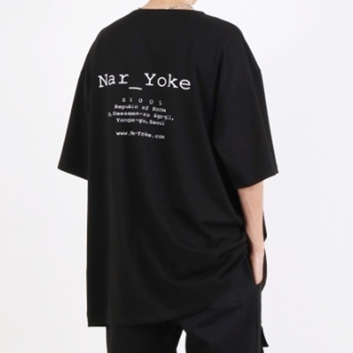[Nar_Yoke] Signature Super Overfit Boat-Neck T-Shirt - Black