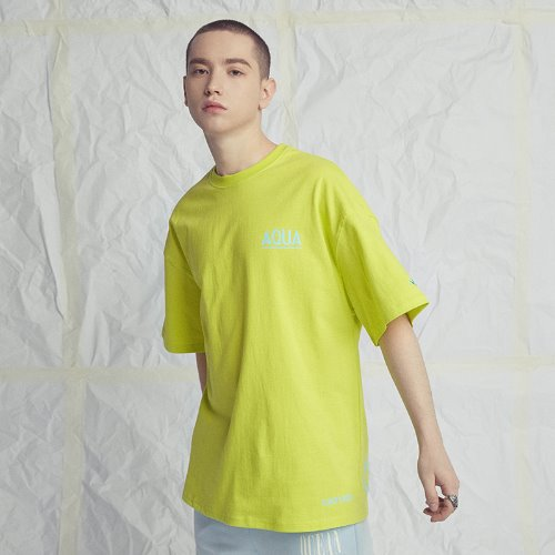 [Black Hoody] AQUA 1/2 TEE LIME