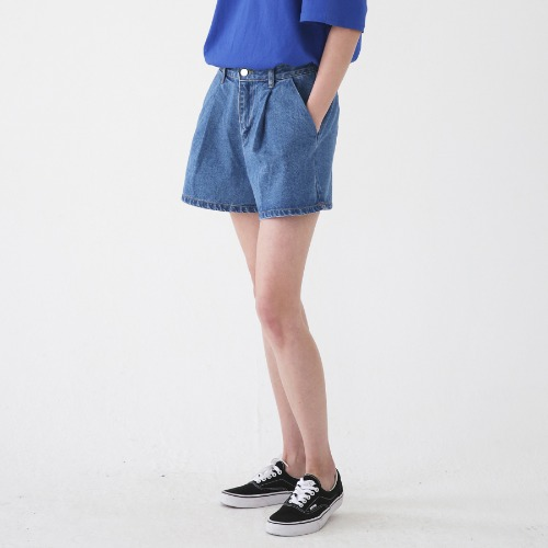 [ARDOROBE] WASHING WRINKLES DENIM SHORTS ASP182002-BL
