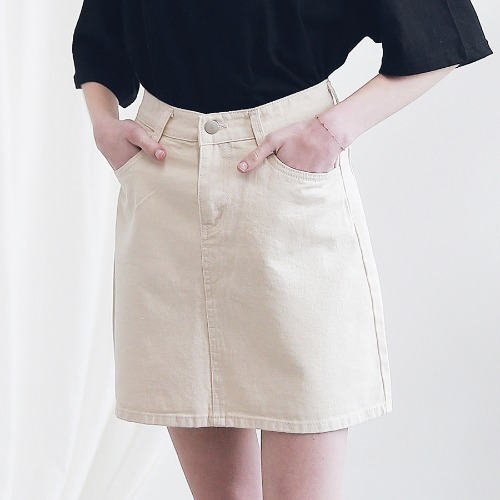 [ARDOROBE] BASIC TWILL COTTON SKIRT ASK191001-BG
